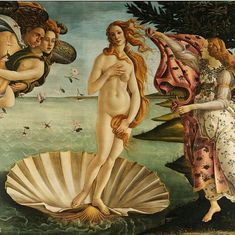 The Birth of Venus by Botticelli c. 1485  This painting is showing the birth of the Goddess Venus, as shown by the title. As the legend says, after Venus was born, she rode a seashell and sea foam to the island Cythera.