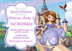 Sofia the First Invitation Birthday Party by ForLittleKids on Etsy