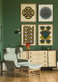 Framed geometric art #patterns #greenwall