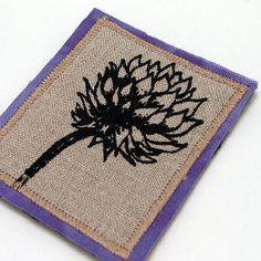 Clover screen-printed brooch