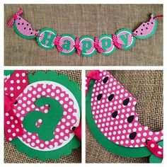 Watermelon Birthday Banner Watermelon Party by AWhimsyPartyShop