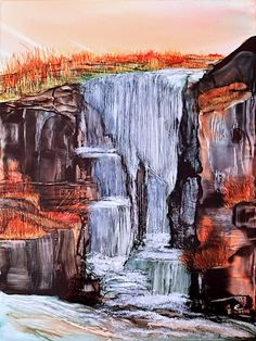Alcohol ink art. Waterfall I by KCsCornerGallery on Etsy, SOLD