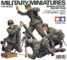 German Infantry Mortar Team set 4 figures with accessories. For use scale model kits.Tamiya 35193 – Military Miniature Series German InfantryMortar figures includedWith weapons and accessoriesThis plastic kitset requires paint and glue to complete. Military Figures, Military Diorama, Military Art, Military History, Tamiya Model Kits, Tamiya Models, Plastic Model Kits, Plastic Models, Army Drawing
