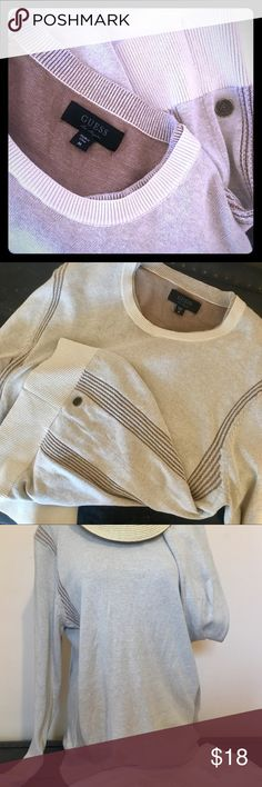 GUESS Casual Knit Sweater Cream and Gray Faux second layer to add depth COMFY! Great for casual weekend Pair with your favorite skinnies, long necklace, & slight tuck Beautiful knit detail on sides and near shoulders Guess Sweaters