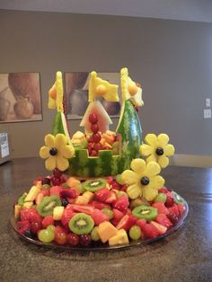 Fruit castle - for our Sophia the First bday party - adorable