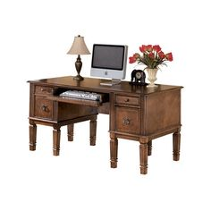 """Hamlyn 60"""" Home Office Desk (£31) ❤ liked on Polyvore featuring home, furniture, desks, brown desk and brown furniture"""