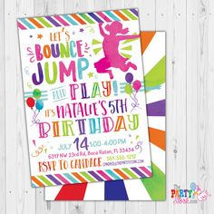 Trampoline Party Invitation: Custom Printable Girls JUMP Birthday Invitations | Digital Invite | Jumping Birthday Invites by ThePartyStork on Etsy 6th Birthday Girls, Girls Birthday Party Themes, Kids Birthday Party Invitations, Trampoline Birthday Party, Digital Invitations, Party Guests, Party Printables, Invitation Design, Scouts