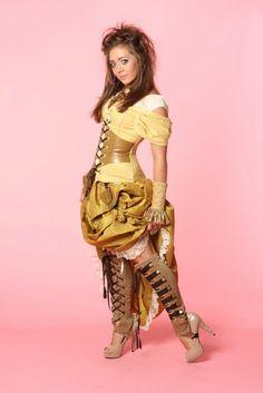 A Steampunk Disney Princess Fashion Show Steampunk Belle, Mode Steampunk, Style Steampunk, Steampunk Cosplay, Steampunk Clothing, Steampunk Fashion, Steampunk Shoes, Disney Princess Fashion, Disney Style