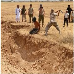 Demonic Islamic ISIS mad dog w/rabies beheading a teenage Christian
