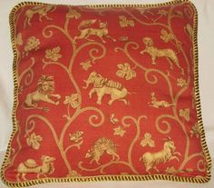 Provence French Country Cottage Pillow Red Toile Moroccan Animal