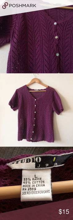 Open Knit Short Sleeve Cardigan In good used condition. Sweaters Cardigans