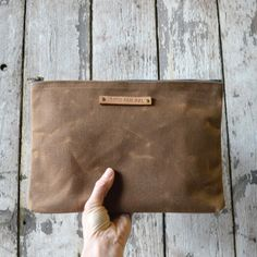 Large Waxed Canvas Pouch: Spice on Wanelo