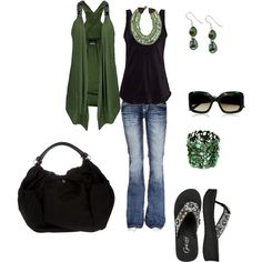 Green and black, created by taralong on Polyvore