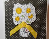Super cute polka dot cards with ribbon and smiley-face flowers!