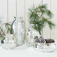 Mercury-Glass Vases~I am in love with Mercury Glass these days, it is so expensive though.