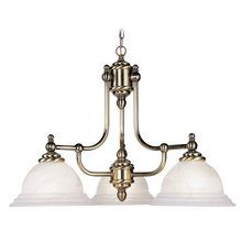 View the Livex Lighting 4253 3 Light 300W Chandelier with Medium Bulb Base and White Alabaster Glass from North Port Series at LightingDirect.com.