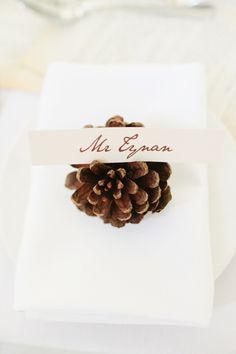 Winter Wedding Décor Idea: Seasonal Place Cards | Brides.com
