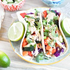 Thai Chicken Tacos with Peanut Vinaigrette