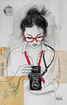 "Saatchi Art Artist Loui Jover; Drawing, ""have camera will travel..."" #art"