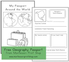 Geography Passport - A fun, free passport that will document your child's travels from continent to continent as they work through all of the continent boxes.