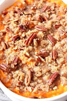 The Best Easy Sweet Potato Casserole Recipe - classic Thanksgiving holiday side dish made easy! The praline topping is i. Sweet Potato Side Dish, Best Sweet Potato Casserole, Potatoe Casserole Recipes, Sweet Potato Recipes, Thanksgiving Side Dishes, Thanksgiving Recipes, Thanksgiving Holiday, Holiday Recipes, Roasted Sweet Potatoes
