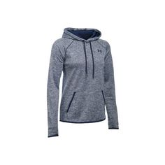 Women's Under Armour Storm Armour Fleece Icon Twist Hoodie - Midnight... ($60) ❤ liked on Polyvore featuring activewear, activewear tops, navy blue pullover, navy pullover, v neck pullover, v neck fleece pullover and fleece pullover