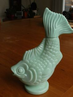 milk glass fish bottle....love!