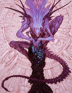 Monster Concept Art, Fantasy Monster, Monster Art, Arte Alien, Alien Art, Creature Concept Art, Creature Design, Mythical Creatures Art, Fantasy Creatures