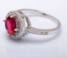 New 2017 Design Silicone Wedding Ring With 2ct Red Zircon Stone And Diamonds