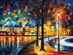 Parque junto al río  Noche paisaje pared arte por AfremovArtStudio