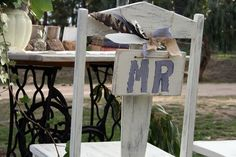Handmade 'Mr' sign on renovated chair for country wedding furniture hire http://countryweddingstyle.com/portfolio/mr-mrs-chairs/ #countryweddings #weddinghire #weddinghiremacedonranges #vintageweddings #macedonranges