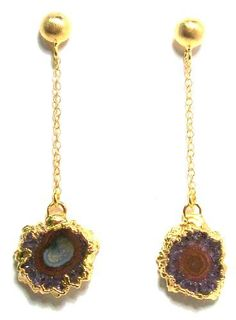 Nina Nguyen Abyss Dangle Earrings With Gold Dipped Stalactite Slice