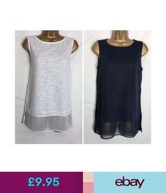 Tops & Shirts Ms Per Una Fine Knit Mock Layered Navy Or Ivory Sleeveless Tunic Top (Pu-96H) #ebay #Fashion