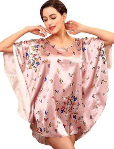 6 Color New Women Fashion Sexy Silk Loose Nightgown Print Butterfly Nigh Skirt Sleepwear Lingerie Sleepwear, Nightwear, Plus Size Pajamas, Pencil Skirt Black, Pencil Skirts, Pajama Top, Batwing Sleeve, Night Gown, Underwear