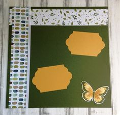 handmade scrapbook page, scrapboooking, butterfly, watercolor wash, ribbon, gold metallic thread, green & gold, DIY, demonstrator, paper crafting, easy, stamping, craft, paper, *Stampin' Up, by Amy Frillici, Gathering Inkspiration Stamp Studio, order products online at amysuzanne.stampinup.net