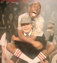 Tyler the Creator jumpin on Jimmy Fallon after performing Sandwitches