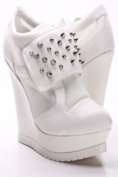 White pin wedge sneakers