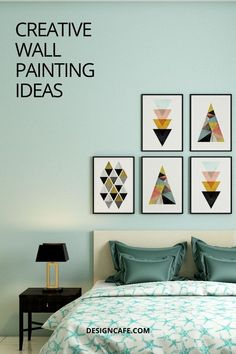 Creative wall painting ideas for a bedroom: using a select few colours for your bedroom walls is a passe! Go through these seven creative wall painting ideas for a bedroom for those glamorous colours. // bedroom design // wall paint design ideas // creative painting ideas // bedroom wall painting // wall painting ideas for bedroom // creative bedroom paint designs #bedroom #wallpaintingideas #bedroomcreativewallpainting #bedroomwallpainting Bedroom Wall Paint Colors, Bedroom Paint Design, Room Wall Painting, Modern Bedroom Design, Wall Colors, Wall Design, Colours, Wall Paint Colour Combination, Creative Wall Painting