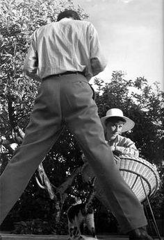 1955, Rome, Italy.  Mel Ferrer, an enthusiastic cameraman, shoots his enchanting subject daily.