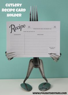DIY:: Cutlery Recipe Card Holder