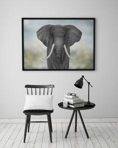 PRINT  ELEPHANT / Tiplers' Safari: Illustration Print. by ekinakis