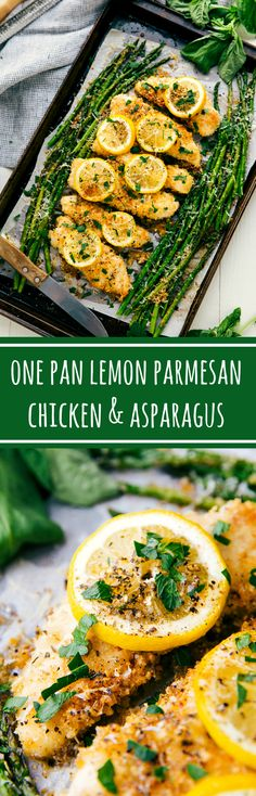The best ONE PAN lemon garlic parmesan chicken and asparagus- swap out gluten free bread crumbs and gluten free flour and this is a great and easy dish
