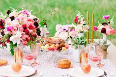 A Boho brunch table setting photographed by Cassandra Eldridge (Via Style Me Pretty)