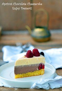 Cheesecake cu ciocolata si piersici
