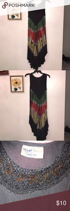 """Ocean Breeze lounge dress Multi-colored sleeveless dress made from 100% rayon. Size Free Size. Length from front at center to hem 40"""" Slightly high-low style. Ocean Breeze Dresses High Low"""
