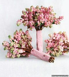 Bride's & Bridesmaid's Bouquets Of: Pink Snowberries
