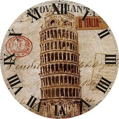 Leaning Tower of Pisa Clock face Vintage Pictures, Vintage Images, Vintage Art, Clock Art, Diy Clock, Adult Coloring Pages, Clock Printable, Decoupage Printables, Art Deco Posters