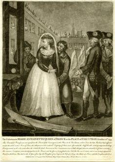 """""""La desafortunada reina María Antonieta de Francia en el lugar de ejecución 16 de octubre de 1793,"""" la manera negra, 1793 (Museo Británico) Mezatinta"""