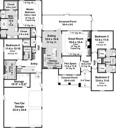 traditional style house plans 2500 square foot home 1 story 4 bedroom and 3 bath 2 garage stalls by monster house plans plan shared closet