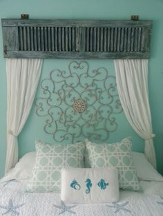 New bedroom blue headboard benches ideas Decor, Headboard Designs, Home Projects, Home, Home Bedroom, Headboard Benches, Old Shutters, Bedroom Decor, Headboard